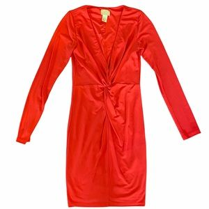 H&M Red Long Sleeve Mini Dress with Ruching Sz 36